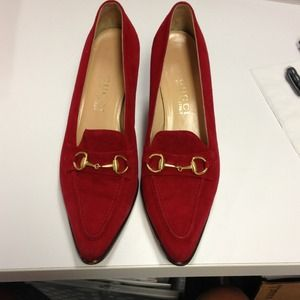 **REDUCED**Red Suede Gucci Shoes