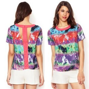 Walter Baker Tops - Bold Graphic Print Cutout Top