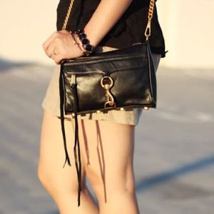 Rebecca Minkoff mini Mac in black w gold