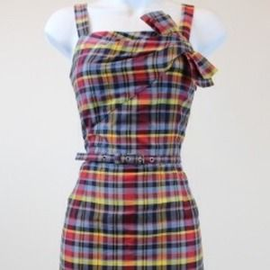 Michael Kors Navy/Red Plaid Sleeveless Dress NWT