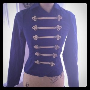 Navy Military Style Short Blazer Jacket H&M 2