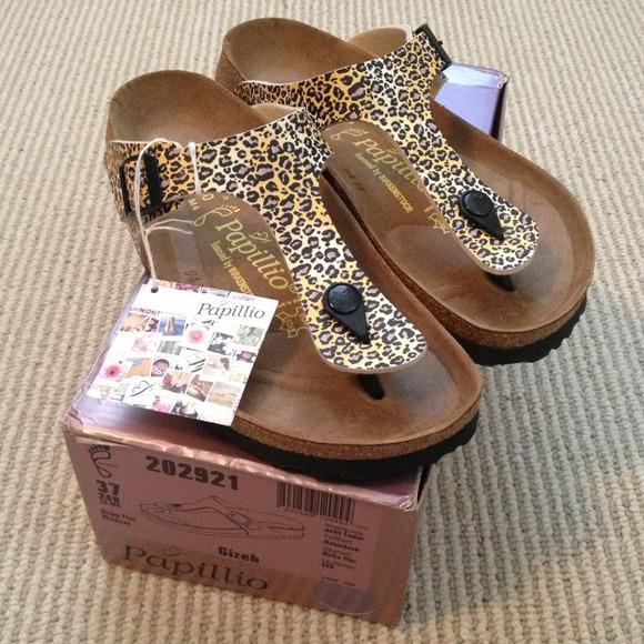 birkenstock papillio gizeh bronze leopard sandal