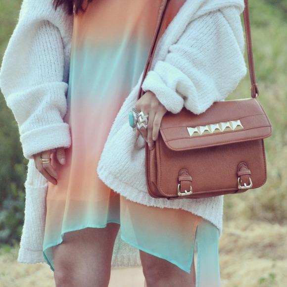 Studded Camel Messenger Bag
