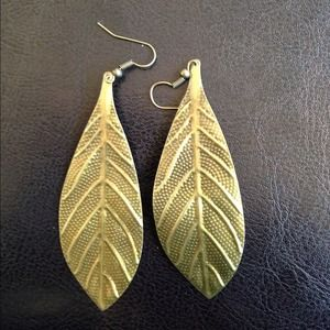 ✂❗ Copper-Colored Dangle Leaf Earrings