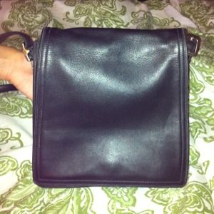 Coach black leather messenger!!