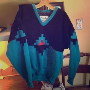 Vintage Aztecy jumper! Half leather half knit
