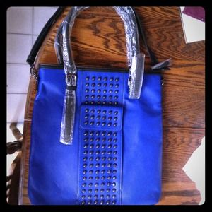 Melie Bianco blue studded pleather purse