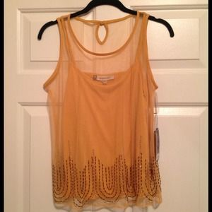NWT JLo top in yellow with beading detail
