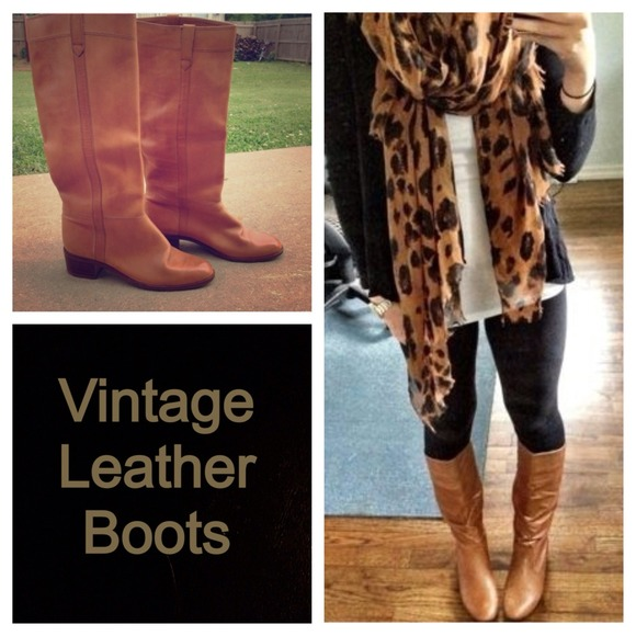 78% off Nine West Boots - Riding Boots Vintage Caramel Riding ...