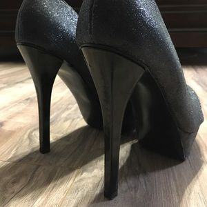 GUESS stilettos, black sparkle