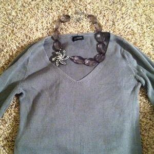 J Crew Grey Ribbed Sweater