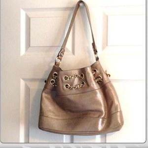Wow! Elaine Turner Gold Alexis Leather Handbag