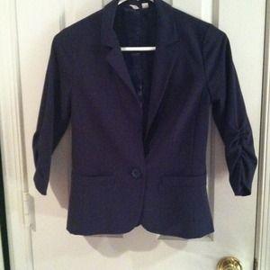 Detailed Navy Blue Blazer