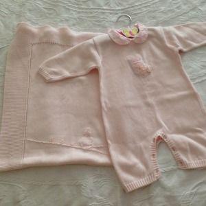 Other - Light pink cotton knit blanket & romper set