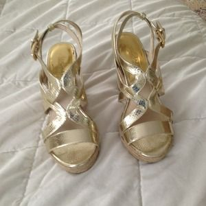 MICHAEL Michael Kors Shoes - MICHAEL MICHAEL KORS gold wedges 7M