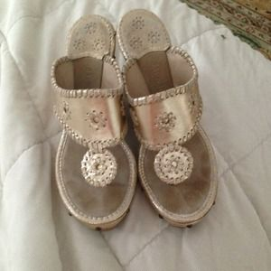 jack rogers Shoes - JACK ROGERS wedge sandal silver metallic wood heel