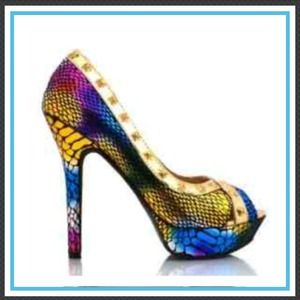 Multi colored snake print heels