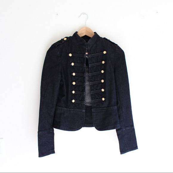 ABS Allen Schwartz - Black Military Jacket with Gold Buttons from ...