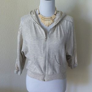 Sweaters - Zip up lace dolman hooded sweater
