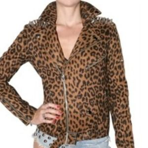 UNIF leopard leather biker jacket