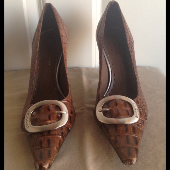 42 Off Bcbg Shoes Bcbg Brown Leather Snakeskin Buckle