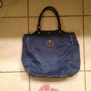 Tory Burch dark blue nylon tote