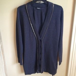 Versace Grey Wool Cardigan w/Metal Trim 38 NWT