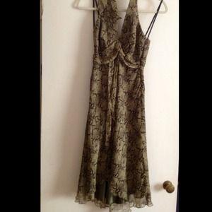Laundry---Green python print -halter dress