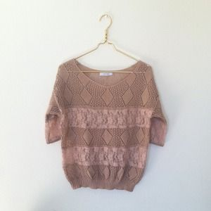 Knit Salmon Color 3/4 Sleeve Top