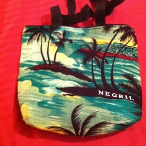 Green tropical print bag