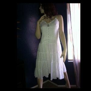 Dresses & Skirts - white summer dress, white halter & brwn top BUNDLE
