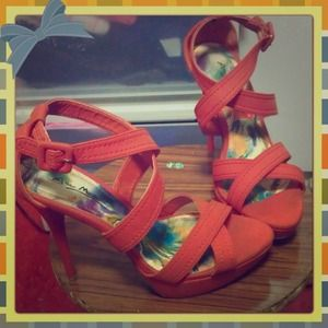 Orange Strappy Anne Michelle Heels