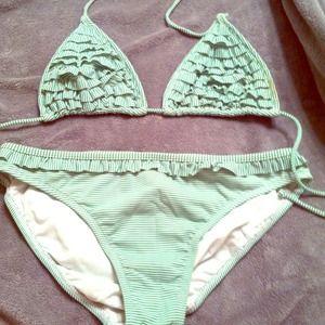 Green seersucker bikini with ruffle accent