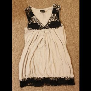 Wet Seal lace trim top black and gray sz XS
