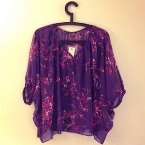 Express Tops - Floral Chiffon Blouse