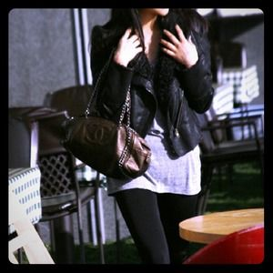 Black Soft Shearling Aviator Jacket Coat