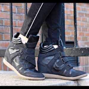 Candies Black Sneaker Wedges