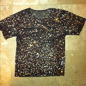 Black and gold sequins blouse