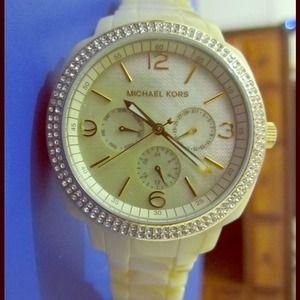 Authentic Michael Kors Enamel Watch w/ diamonds