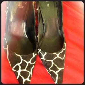 Nine West Cow Pattern Calf Leather Pumps!