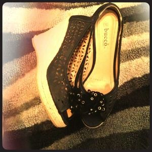 Shoes - Black peeptoe wedges