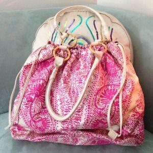 Pink Beach Bag w/ Bamboo detail