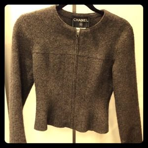 Chanel fitted wool jacket in dark grey