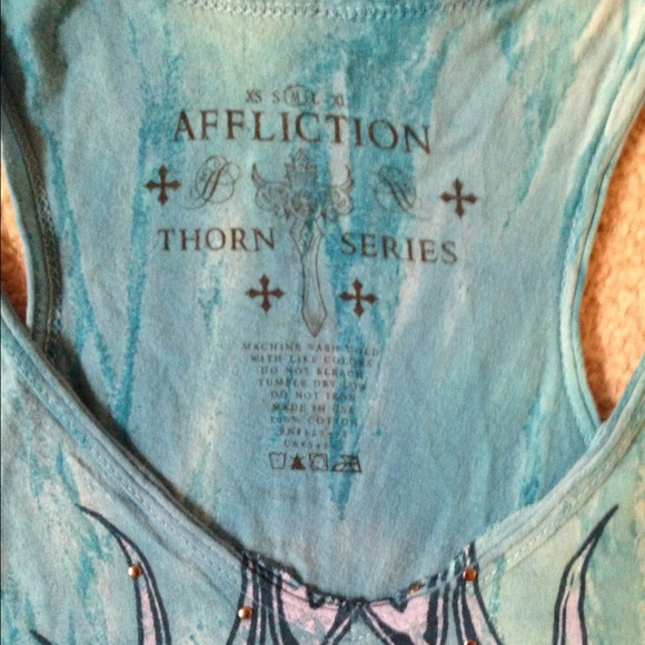Affliction Tops - Affliction V Neck Tie-Dyed long tank top studded