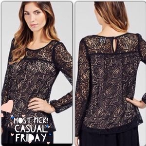 ❌SOLD❌Ella Moss Lace Top (NAVY)