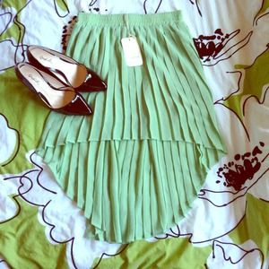 Dresses & Skirts - Pleated Mint Green Hi-lo Skirt