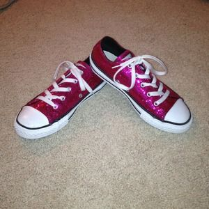 Neon pink converse high tops