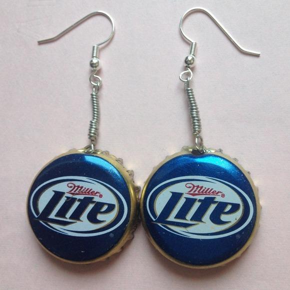 Miller light beer bottle cap earrings os from gwyn 39 s for Beer cap jewelry
