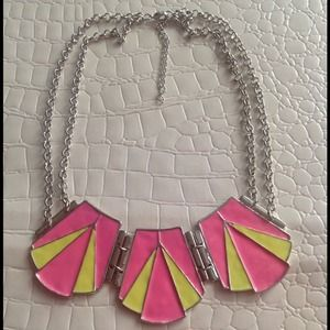 Pink and Neon Yellow Art Deco necklace NEW
