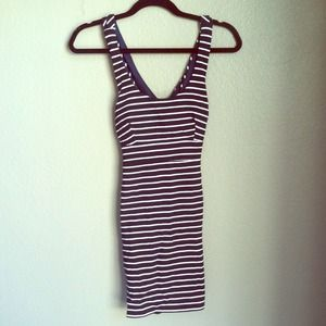 Navy blue and white striped dress